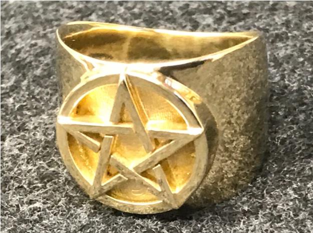 3D pentacle polished brass black felt cropped