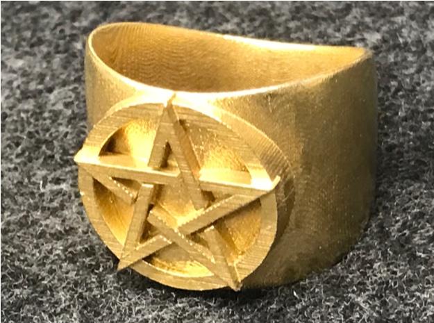 3D pentacle raw brass black felt cropped