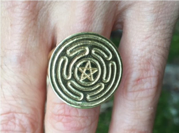 WoH engraved pentacle raw brass cropped