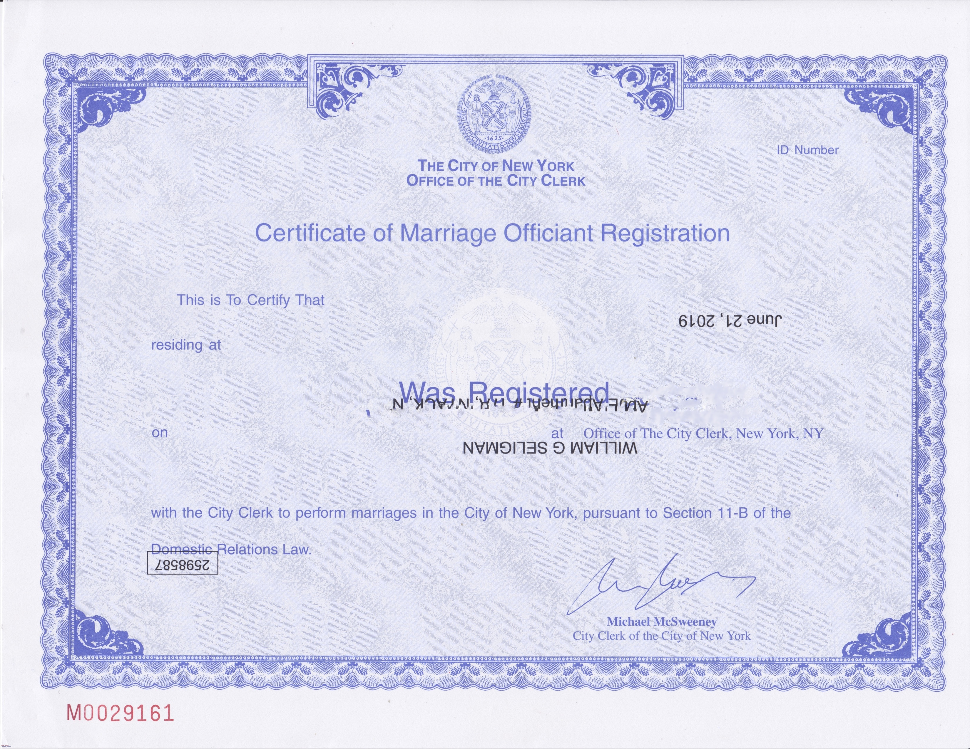 NYC Certificate of Marriage Officiant Registration blurred